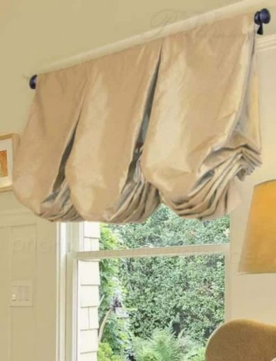 Inverted Box Pleated Balloon Valance with Deep Poufs