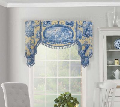Board-Mounted Flat Swag Valance with Handkerchief Jabots