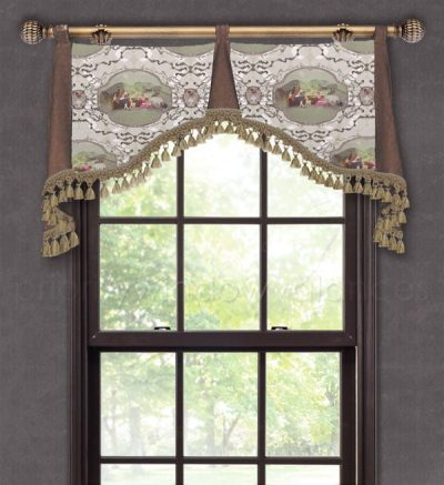 French Toile Taupe Valance