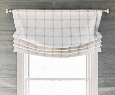 Aaron (Modern Farmhouse Check) Faux Relaxed Roman Balloon Valance