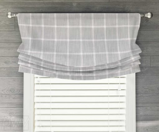Abbot (Modern Farmhouse Check) Faux Relaxed Roman Balloon Valance