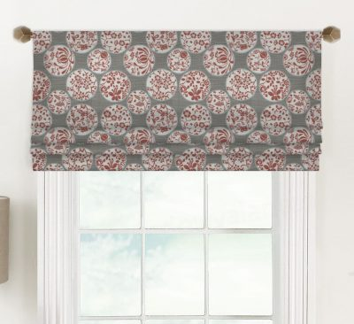 Aiko (Novelty Chinoiserie in Red or Blue) Faux Roman Shade Valance