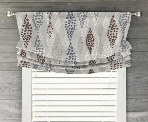 Angelo (Blue and Brown) Faux Relaxed Roman Balloon Valance