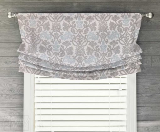 Anika (Neutral Floral Scroll) Faux Relaxed Roman Balloon Valance