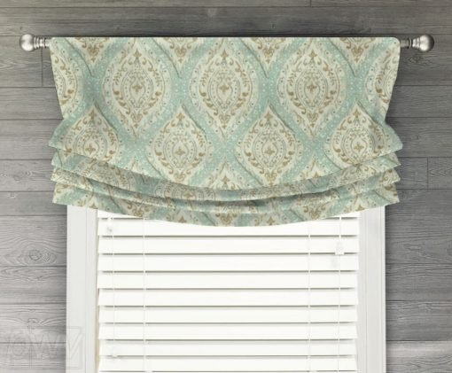 Ariana (Spa Blue/Green, Light Brown, Coral) Faux Relaxed Roman Balloon Valance