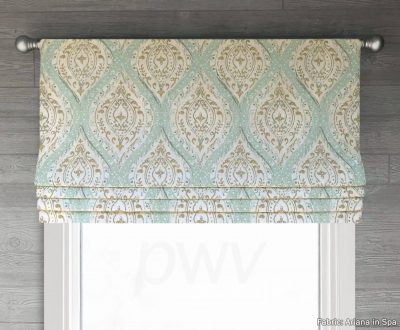 Ariana (Spa Blue/Green, Light Brown, Coral) Faux Roman Shade Valance