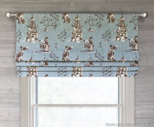 Asian Toile (Red or Robin Egg Blue Chinoiserie) Faux Roman Shade Valance