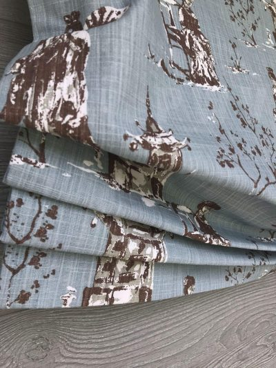 Asian Toile (Red or Robin Egg Blue Chinoiserie) Faux Relaxed Roman Balloon Valance