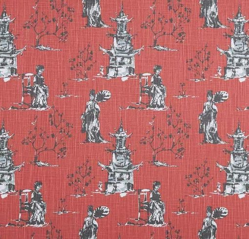 Asian Toile in Scarlet (Sample)