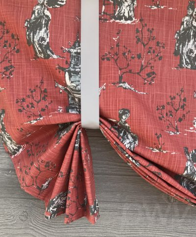 Asian Toile (Red, Blue) Tailed Balloon Valance