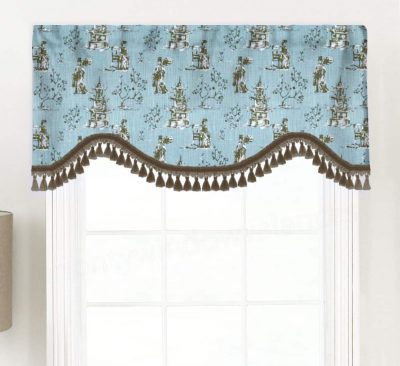 Asian Toile (Red, Blue) Shaped Valance Curtain