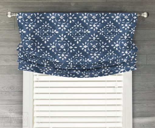 Avila (Dark Blue, Gray Modern Geometric) Faux Relaxed Roman Balloon Valance