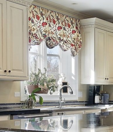 Floral Jacobean Valance Kitchen Sink