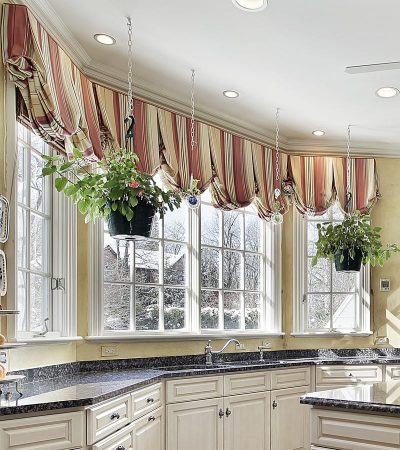 Red Stripe Bay Window Kitchen Sink Valance