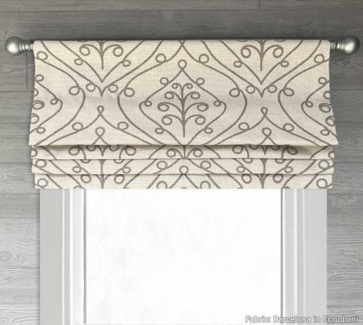 Barcelona (Ivory, Gray, Red) Faux Roman Shade Valance
