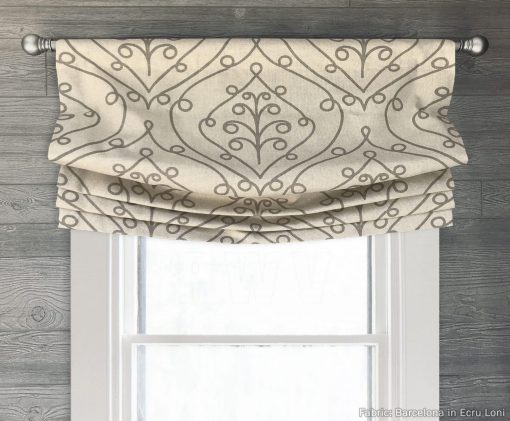 Barcelona (Ivory, Gray, Red) Faux Relaxed Roman Balloon Valance