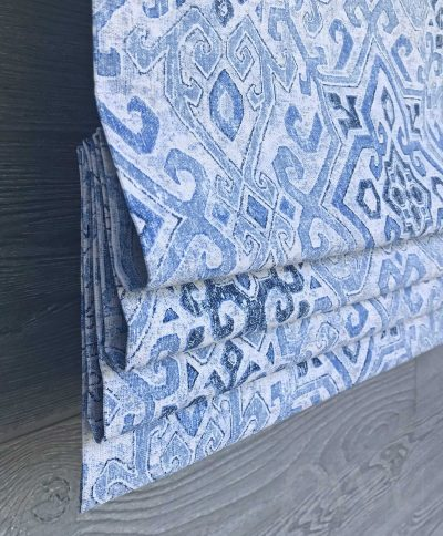 Becca (Blue Diamond Medallion) Faux Roman Shade Valance