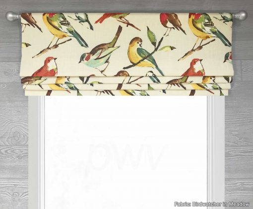 Birdwatcher (Bird Toile Linen) Faux Roman Shade Valance