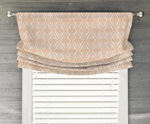 Biscay (Blue, Green, Salmon Pink) Faux Relaxed Roman Balloon Valance