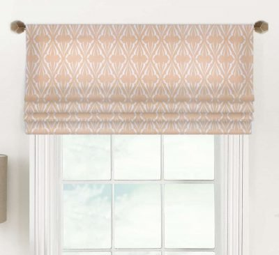 Biscay (Blue, Green, Salmon Pink) Faux Roman Shade Valance