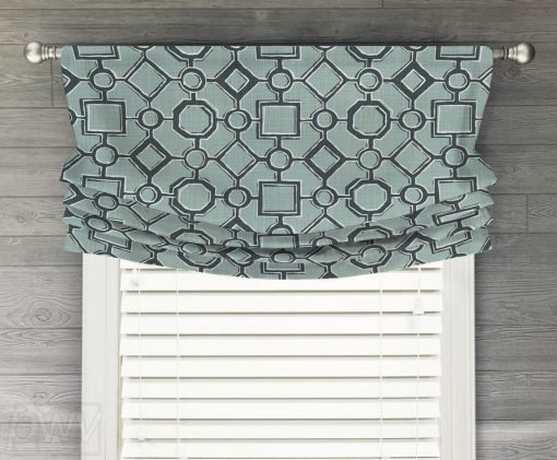 Brazil (Modern Diamond and Square) Faux Relaxed Roman Balloon Valance