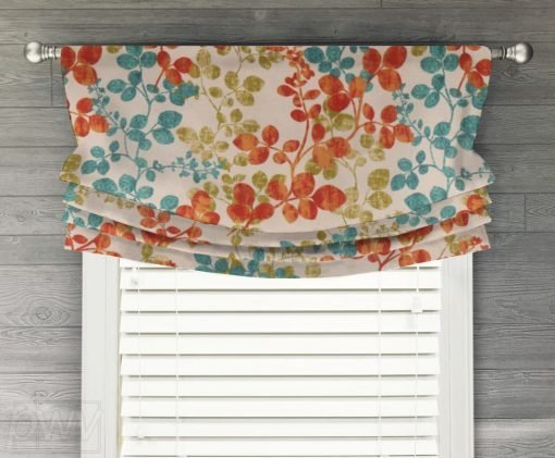 Cabrera (Red, Turquoise, Navy) Faux Relaxed Roman Balloon Valance