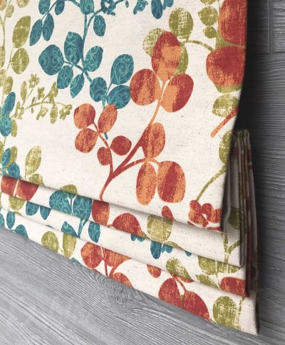 Cabrera Faux Roman Shade Valance (Red, Turquoise, Navy)