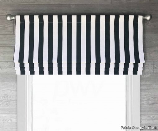 Canopy (Modern Black and White Stripe) Faux Roman Shade Valance