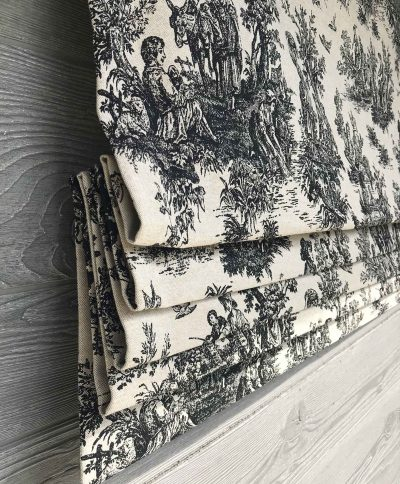 Colonial (French Toile in Black) Faux Roman Shade Valance