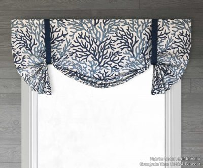 Coral Reef (Blue Beach House Style) Tailed Balloon Valance