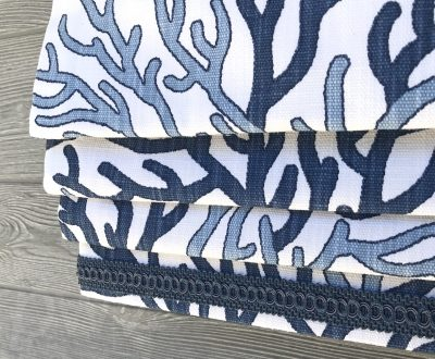 Coral Reef Luxe Linen (Blue Beach House Style) Faux Roman Shade Valance