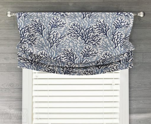 Coral Reef Luxe Linen (Blue Beach House Style) Faux Relaxed Roman Balloon Valance