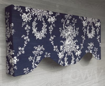 Country House (French Country Bird Toile) Shaped Valance Curtain