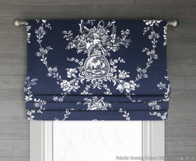 Country House (French Country Bird Toile) Faux Roman Shade Valance