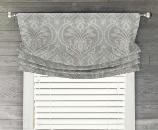 Dalusio Damask (Neutral Medallions) Faux Relaxed Roman Balloon Valance