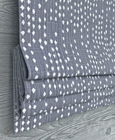 Destiny (Modern Dots in Grays and Blues) Faux Roman Shade Valance