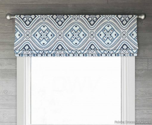 Dream (Blue, Brown, or Gray Modern Medallions Luxe Linen) Faux Roman Shade Valance
