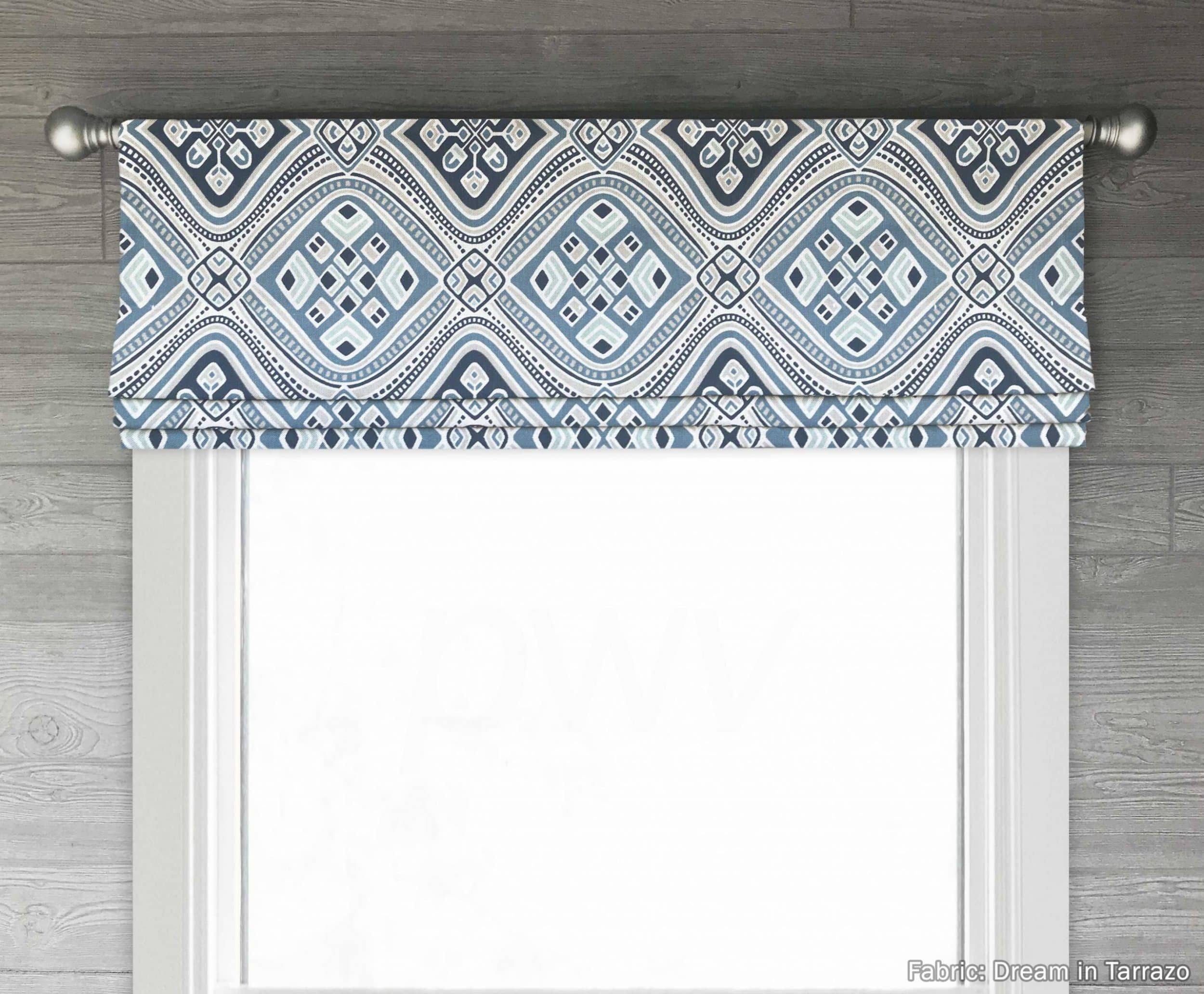 Dream Blue Brown Or Gray Modern Medallions Luxe Linen Faux Roman Shade Valance