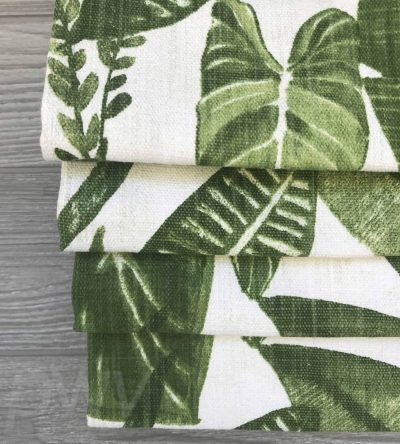 Eden (Tropical Luxe Linen in Green) Faux Roman Shade Valance