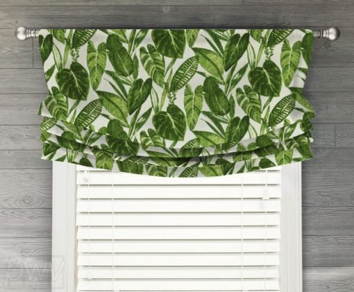 Eden (Tropical Luxe Linen in Green) Faux Relaxed Roman Balloon Valance