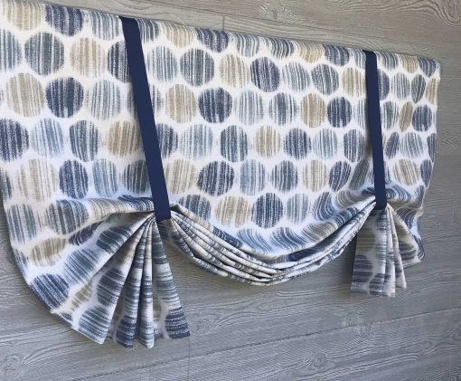 Fallon (Modern Distressed Dot Flax) Tailed Balloon Valance