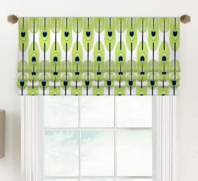 Feathers (Abstract Green Design) Faux Roman Shade Valance