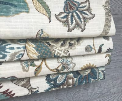 Finders Keepers II (Jacobean Floral in French Blue, Spice) Faux Roman Shade Valance
