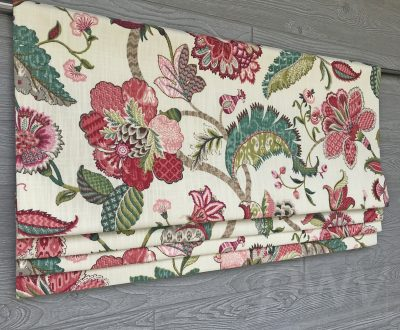 Finders Keepers (Jacobean Floral in French Blue, Spice) Faux Roman Shade Valance