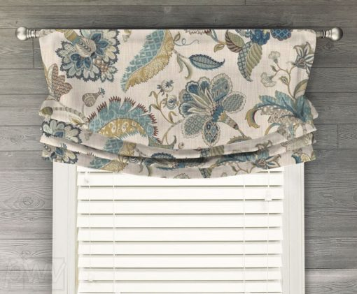 Finders Keepers (Jacobean Floral in French Blue, Spice) Faux Relaxed Roman Balloon Valance