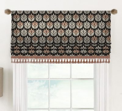 Florence (Modern Dark Floral Design on Luxe Linen) Faux Roman Shade Valance