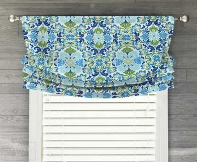 Folk Damask (Colorful Floral) Faux Relaxed Roman Balloon Valance