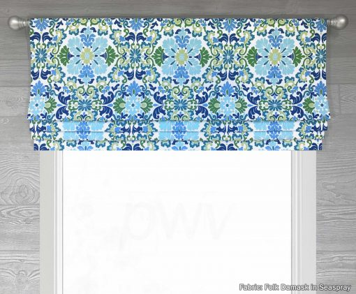 Folk Damask (Colorful Floral) Faux Roman Shade Valance