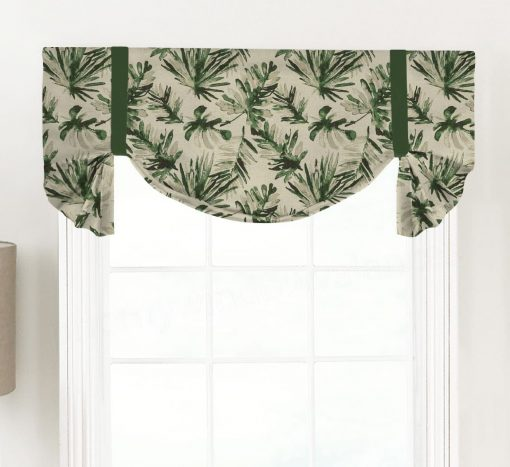 Frond (Tropical Palm Fabric) Tailed Balloon Valance