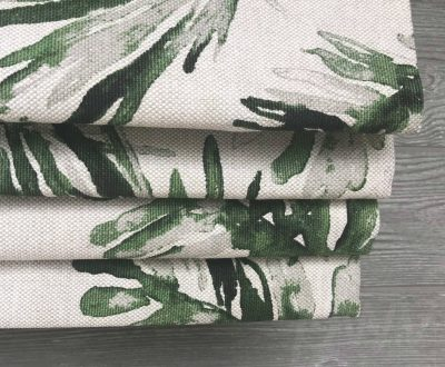 Frond (Tropical Palm Belgian Flax Linen) Faux Roman Shade Valance